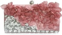 Inspired Livingg Pink Jewelled Ruffle Evening Women Party Pink Satin, Rhinestones Clutch: Clutch