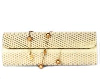 Favola Women Casual Beige, Gold Silk  Clutch