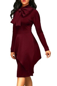 Trendy Turtleneck Bow-Tie Design Wine Red Polyester Sheath ...