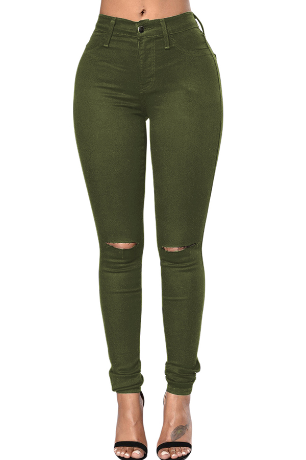 The black Friday sale at  Lovely WholeSale - casual hollow-out army green jeans