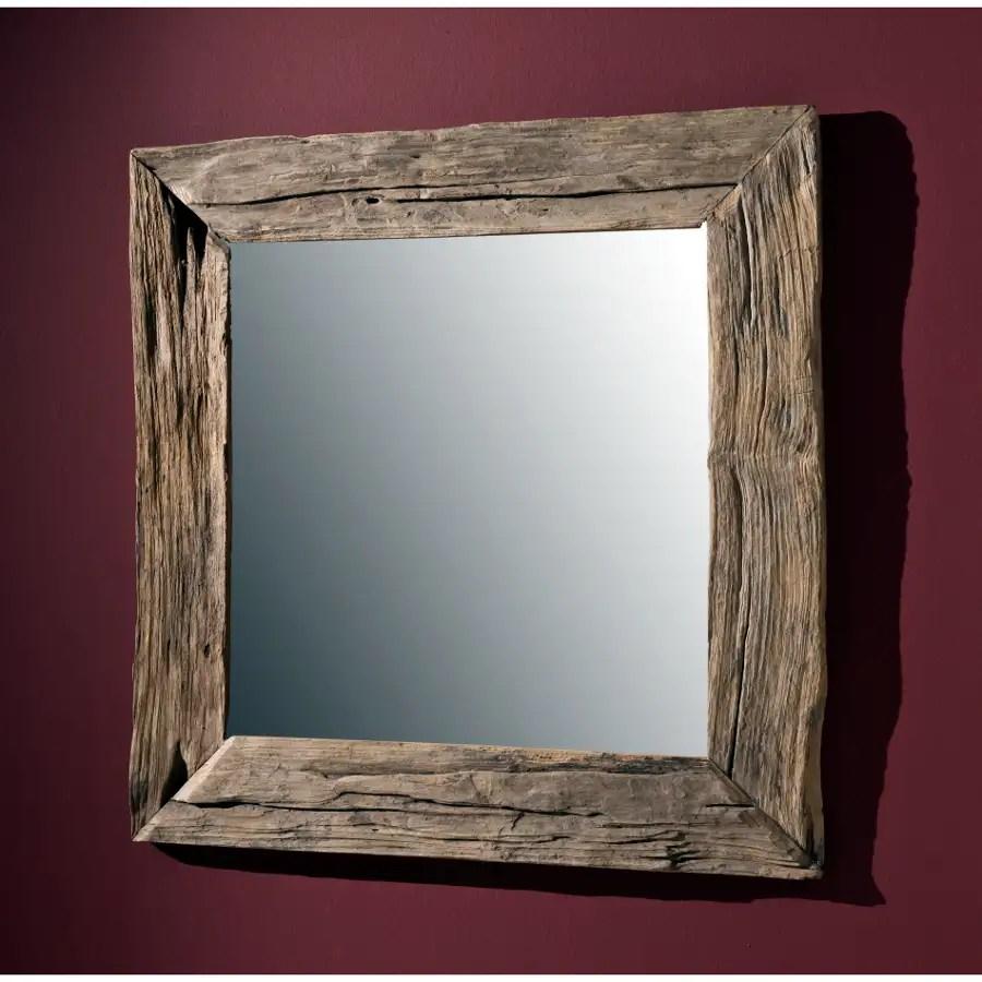 NATUR UNIKAT Wandspiegel massiv Teak Holz Spiegel Altholz edel 100cm Antik Style  eBay