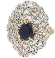 Crunchy Fashion Rajwala AD Stone Brass Ring: Ring