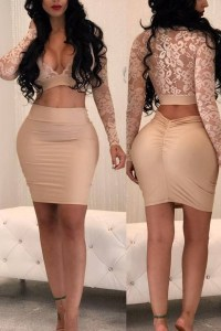Sexy V Neck See-Through Apricot Bud Silk Two-piece Skirt ...