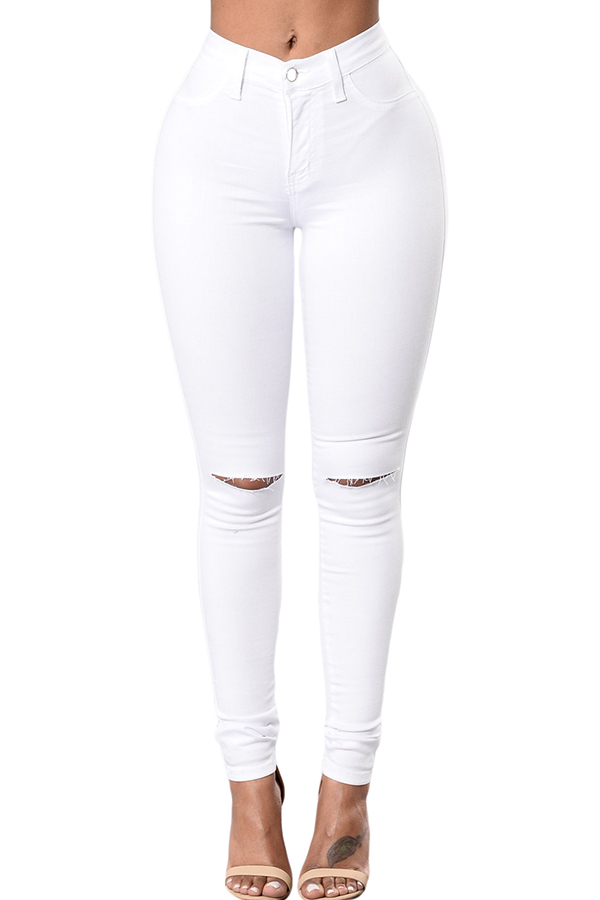 The black Friday sale at Lovely WholeSale - casual hollow-out white jeans