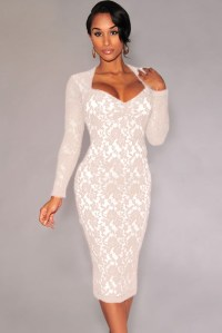 Cheap Sexy V Neck Long Sleeves Padded White Lace Sheath ...