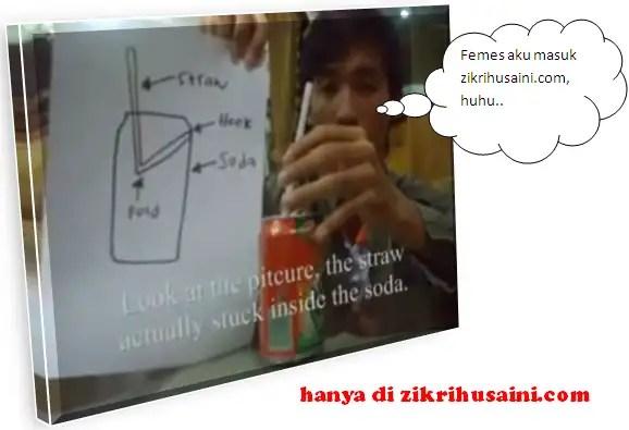 zik the magician code, cara untuk membuat straw tegak angkat tin minuman