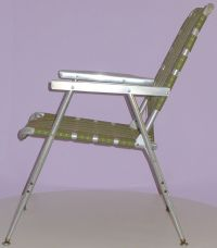 MID-CENTURY ALUMINUM FOLDING VINTAGE LAWN CHAIR w HIGH ...