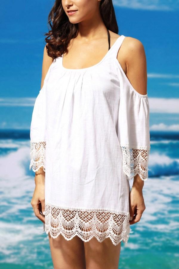 5c1e94580d Debbie Katz Shanti Mirror Cotton Tunic Swim Cover. White Lace Trim  Patchwork Cotton Cover-ups