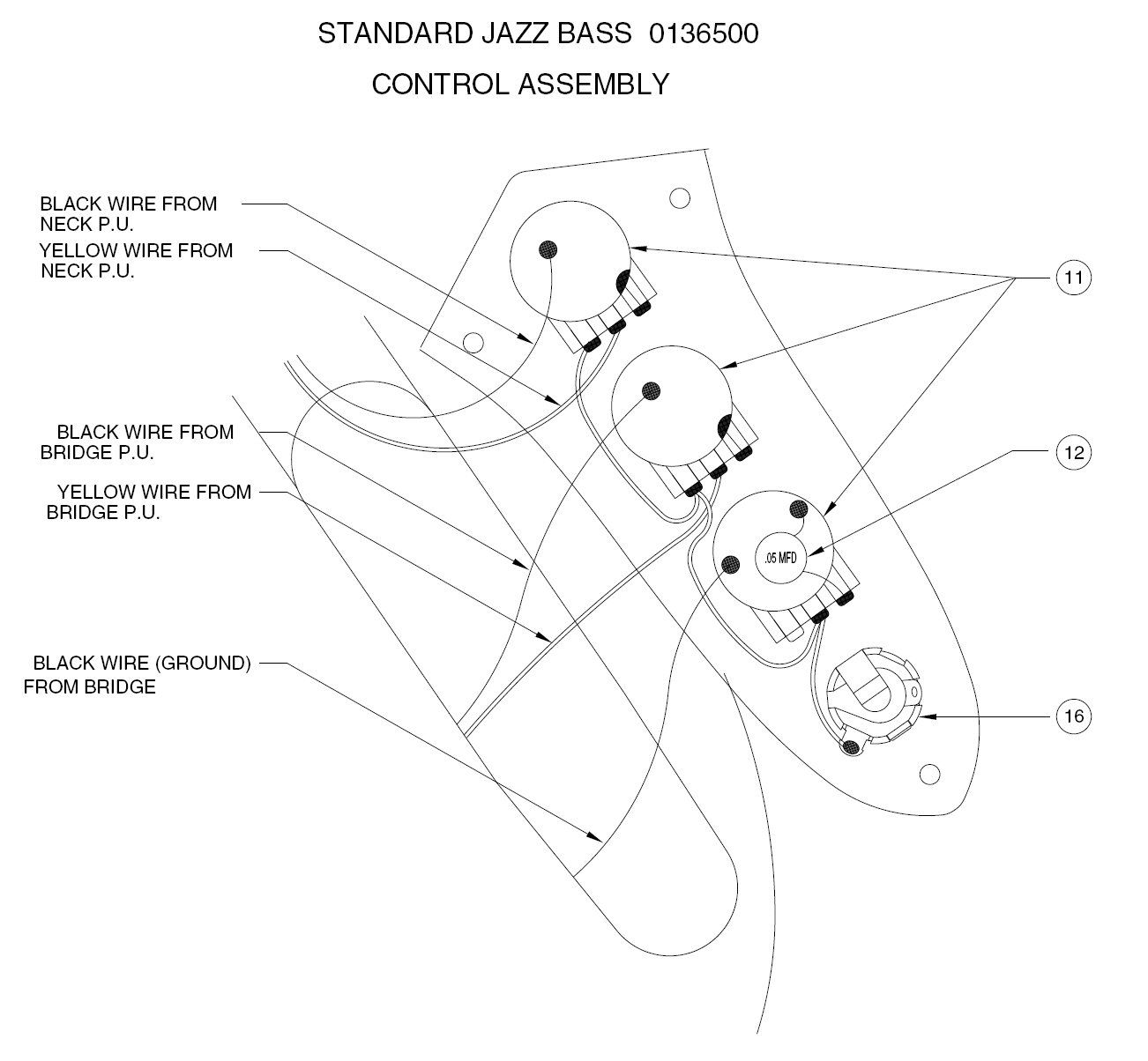 Wired Fender J Bass Schematic