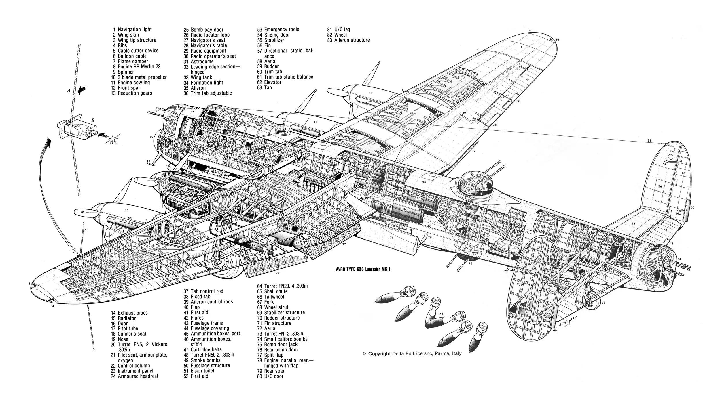 Avro Lancaster Cutaway Sketch Coloring Page