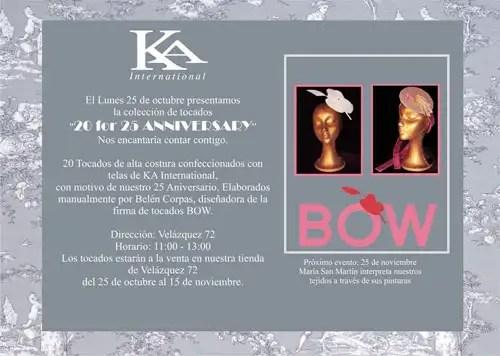 Ka Internacional, invitación exposición de tocados