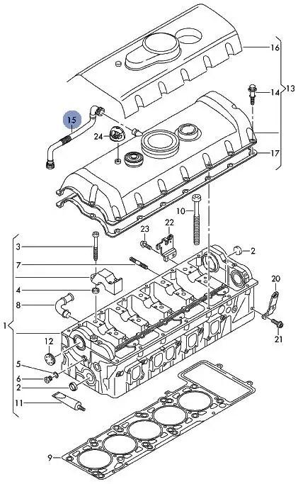 NEW GENUINE VW TRANSPORTER T5 2.5TDI CYLINDER HEAD VENT