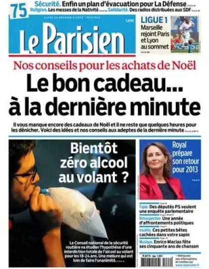 Le Parisien du Lundi 24 décembre 2012