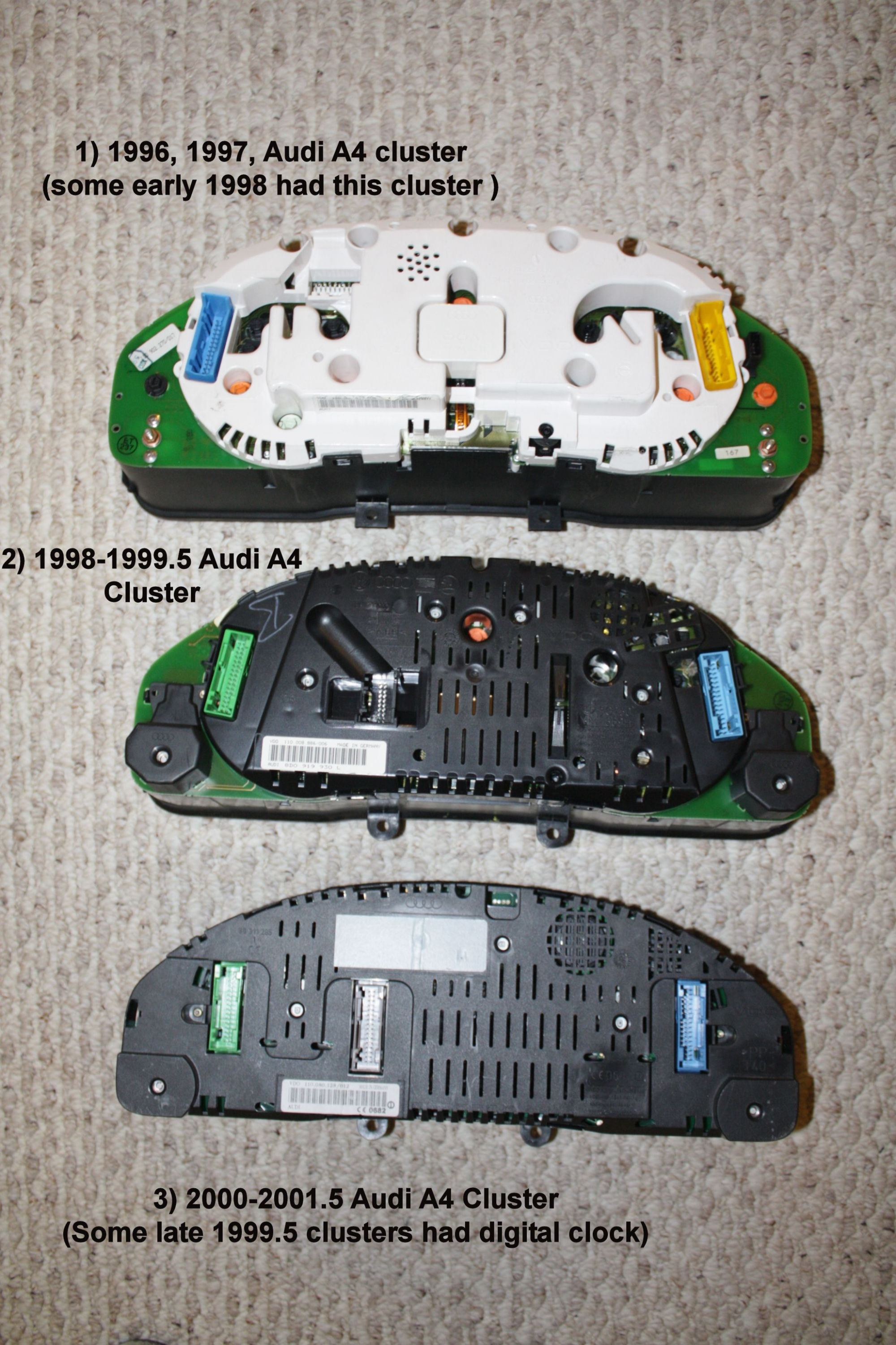 hight resolution of understanding differences between audi a4 clusters and the compatibility issues