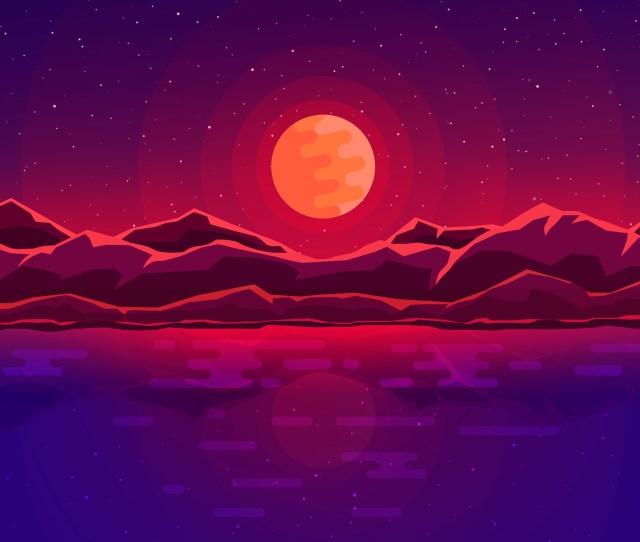 Landscape Minimalist Ocean Mountain K Wallpaper X