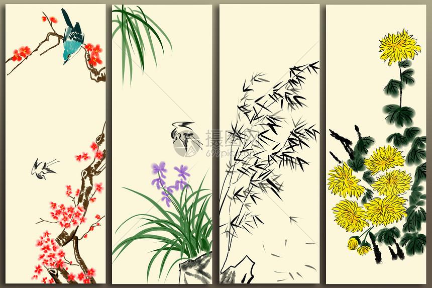 梅蘭竹菊四幅寫意國畫插畫圖片下載-正版圖片400129106-攝圖網