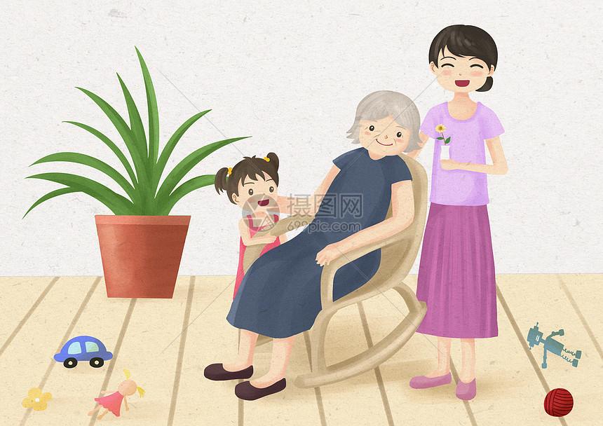 陪伴老人插畫圖片下載-正版圖片400171058-攝圖網