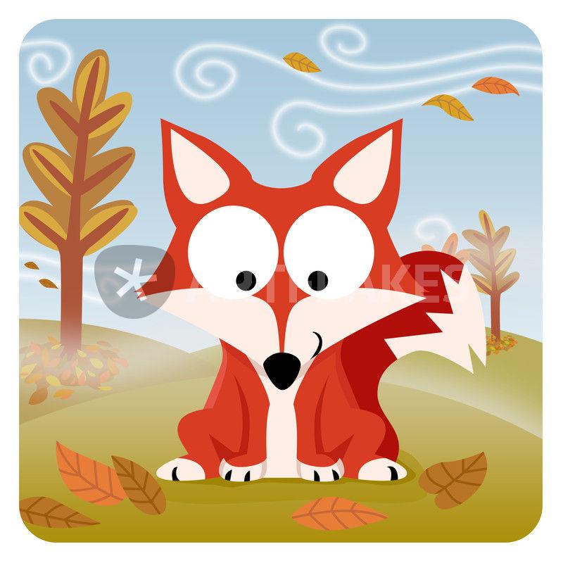 Waldtiere Serie II Fuchs GrafikIllustration als Poster