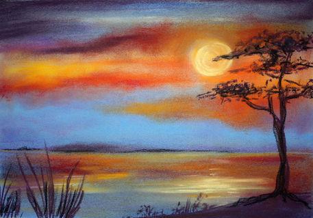 Sonnenuntergang Am Meer Malerei Als Poster Und
