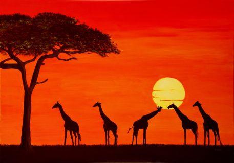Sonnenuntergang in Afrika Malerei als Poster und