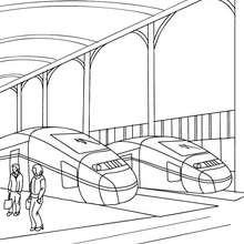صفحات تلوين قطارات - صفحة تلوين رواق محطّة سكّة الحديد