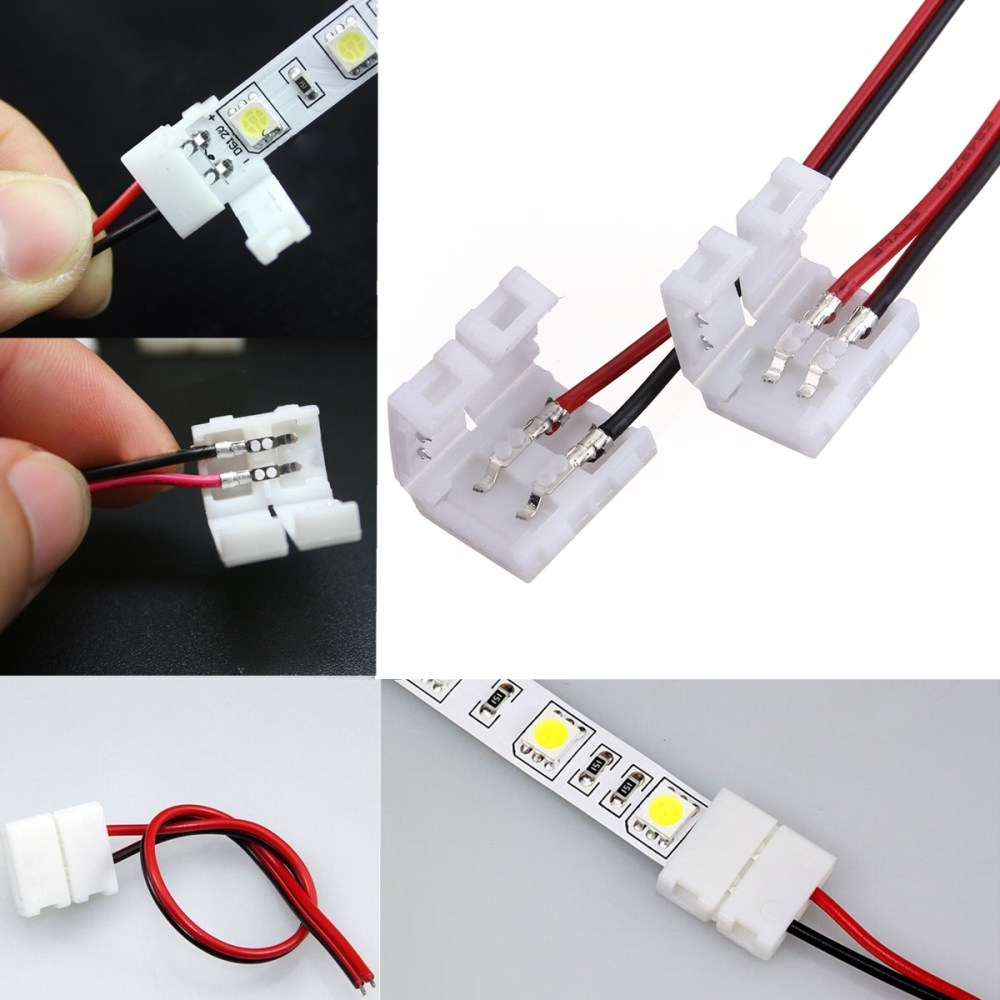 medium resolution of 2 pins power connector adaptor for 3528 5050 led strip wire with pcb
