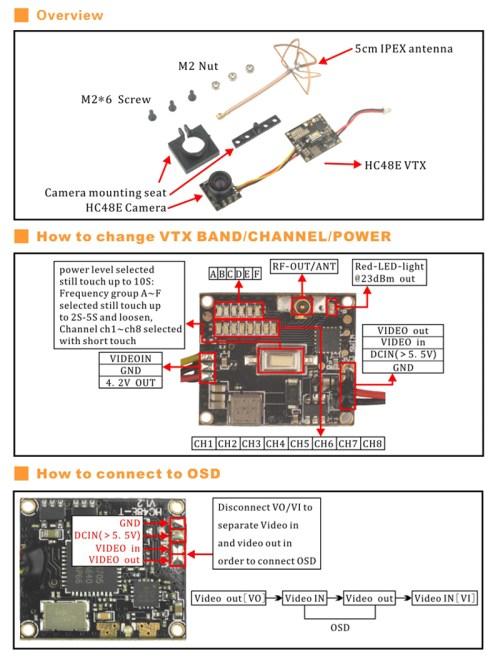small resolution of hc48e 5 8g 48ch raceband 25mw 200mw switchable 600tvl 120 degree 1 4 fpv