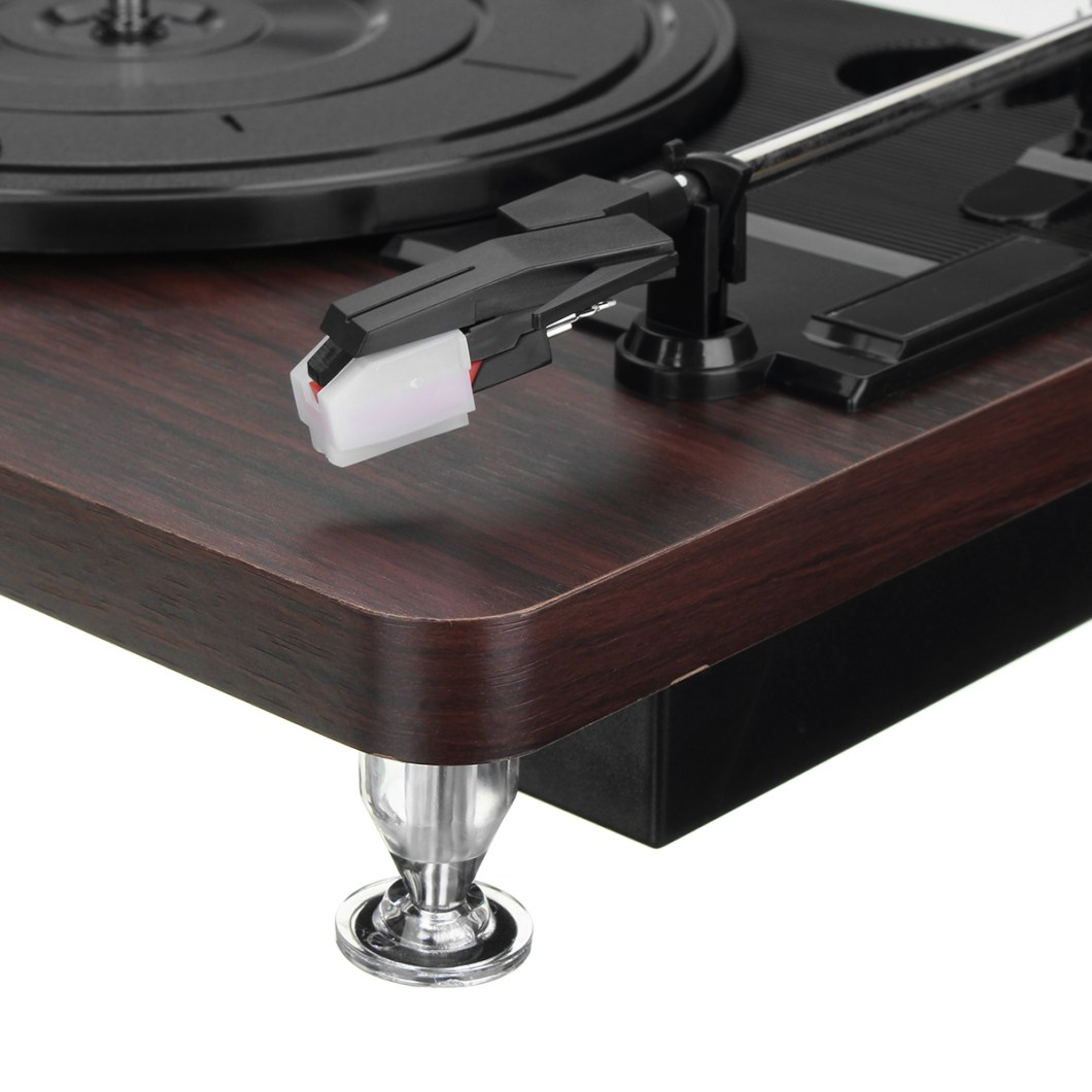 Shenle 33RPM Antique Gramophone Turntable Disc Vinyl Wood Record Player RCA R/L 3.5mm Output USB 32