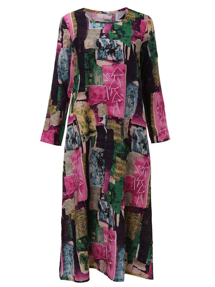 Women Floral Print Long Sleeve Loose Casual Dress