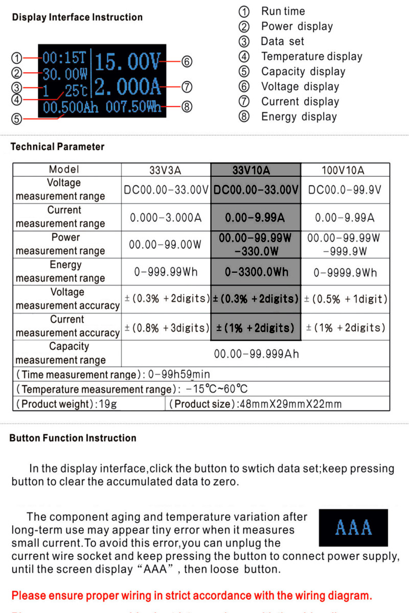 hight resolution of 1 x 33v 10a electrical parameter tester