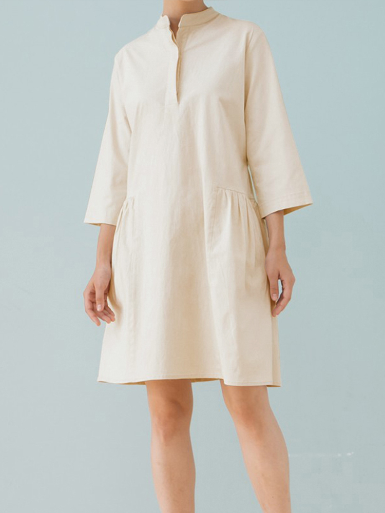 Women Retro 3/4 Sleeve Buttons Pocket Cotton Dress
