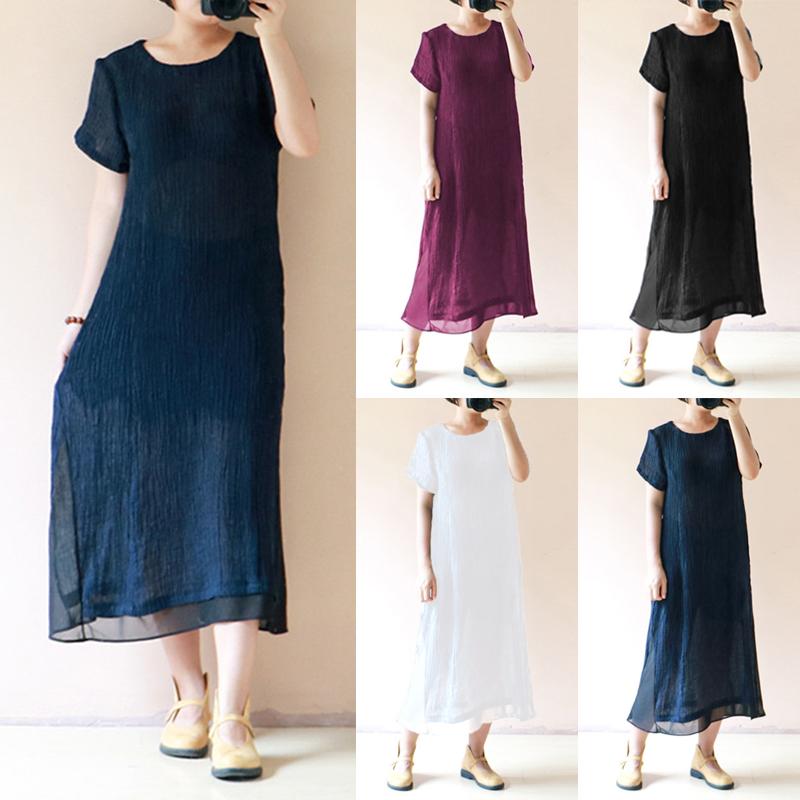 Celmia Women Short Sleeve Loose Solid Vintage Dresses