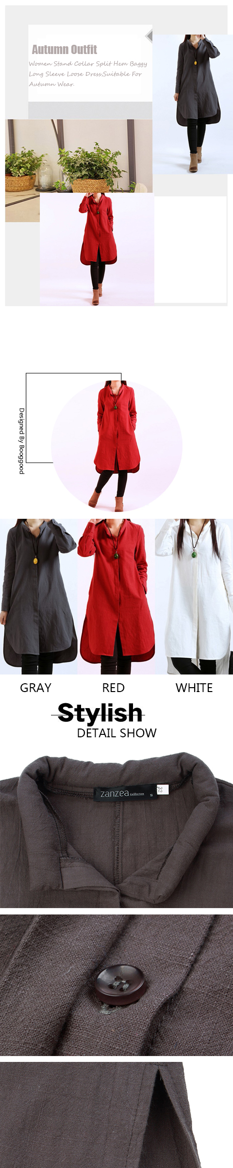 Women Stand Collar Split Hem Baggy Long Sleeve Loose Dresses
