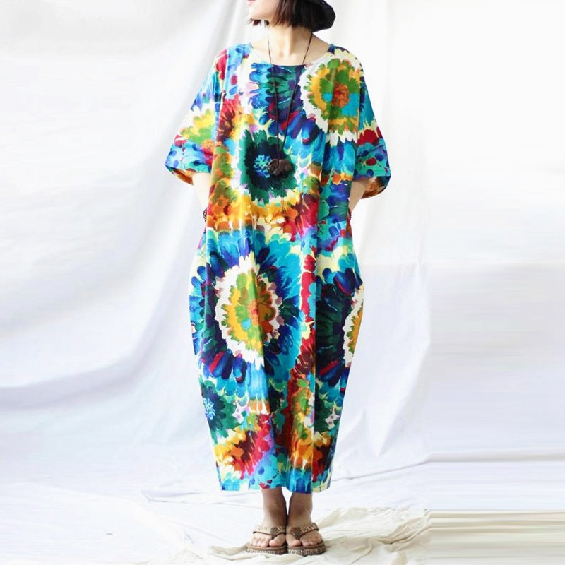 Vintage Floral Printed Loose V-neck Short Sleeve Dress