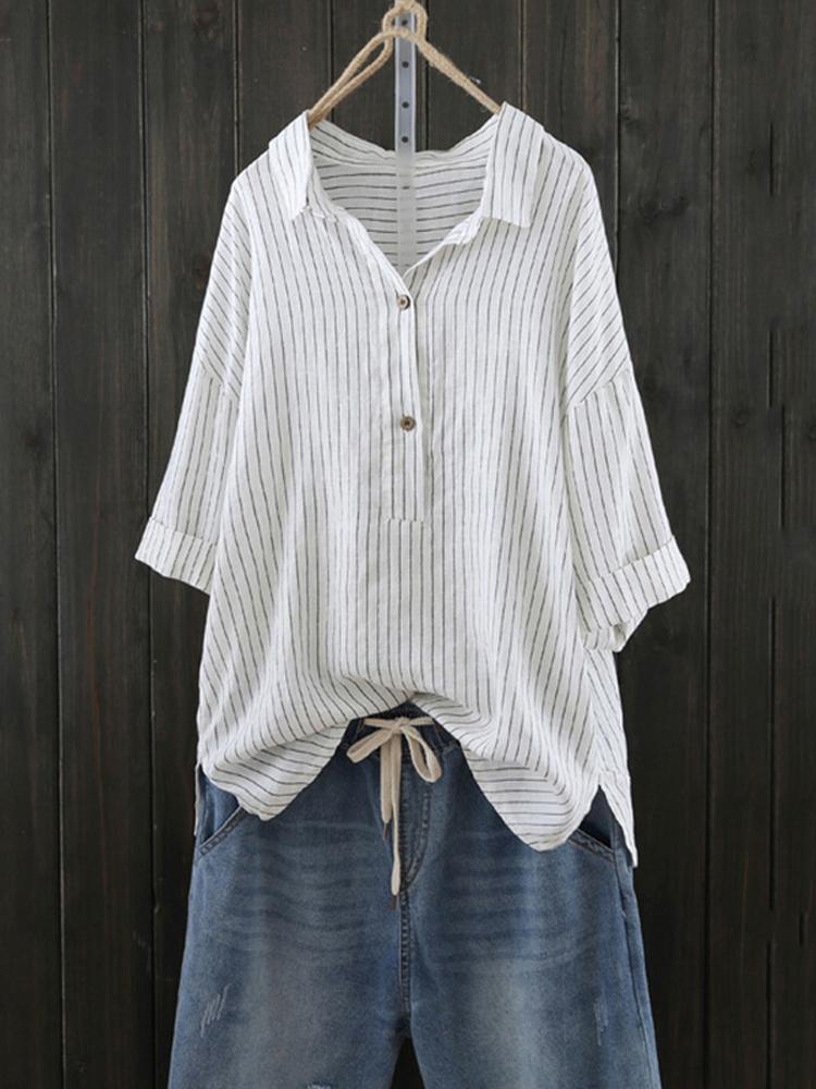 Women Stripe Retro Buttons Turn Down Collar Blouse Shirt