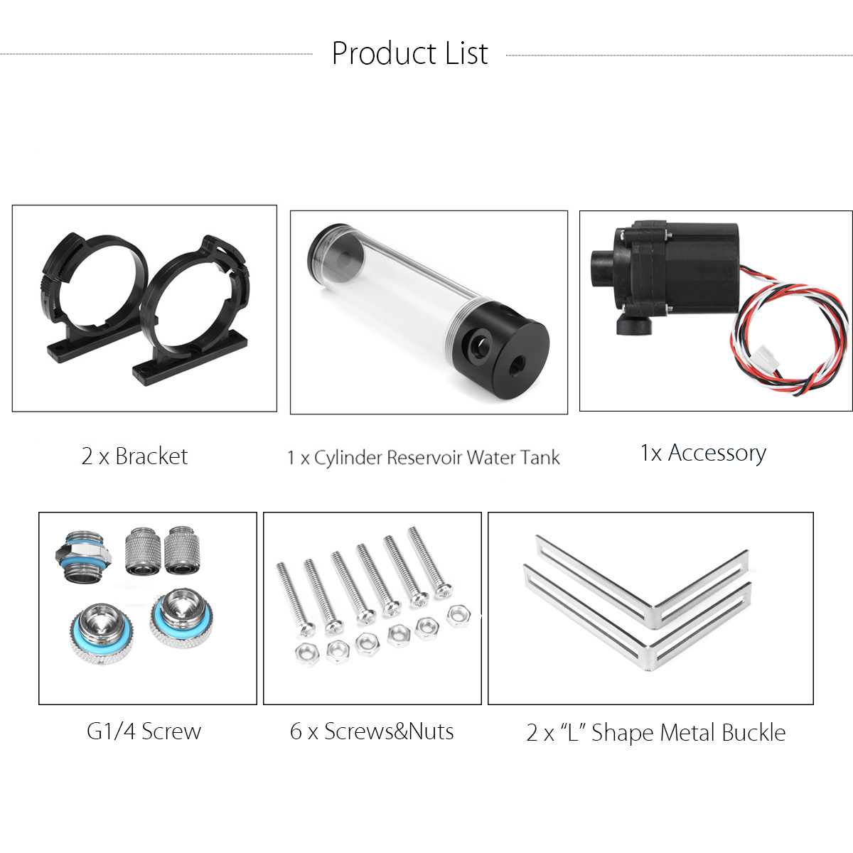 hight resolution of 12v 50mmx310mm cylinder water tank g1 4 thread 19w pump computer water cooling radiator
