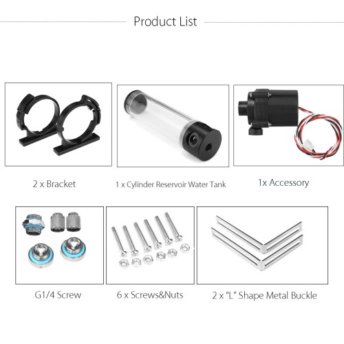 small resolution of 12v 50mmx310mm cylinder water tank g1 4 thread 19w pump computer water cooling radiator