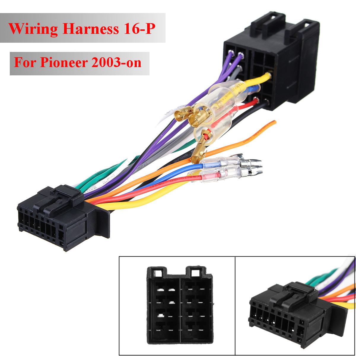 hight resolution of 16pin car stereo radio wiring harness connector plug iso pi100 for pioneer 03 on