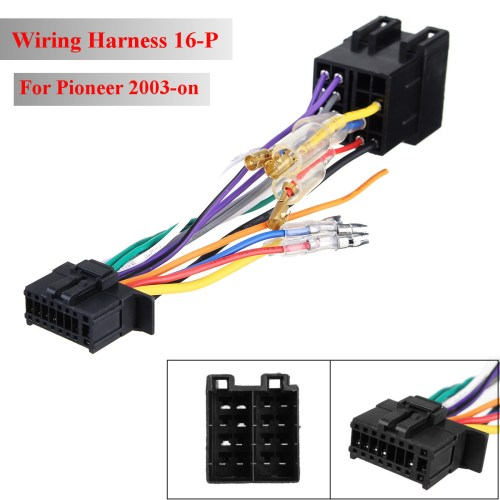 small resolution of 16pin car stereo radio wiring harness connector plug iso pi100 for pioneer 03 on