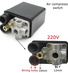 220v 1 4inch bsp 4 port single phase air compressor pressure switch with safety valve [ 1200 x 1200 Pixel ]