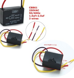 cbb61 1 5uf 2 5uf 3 wire 250vac ceiling fan capacitor 3 wires [ 1200 x 1200 Pixel ]