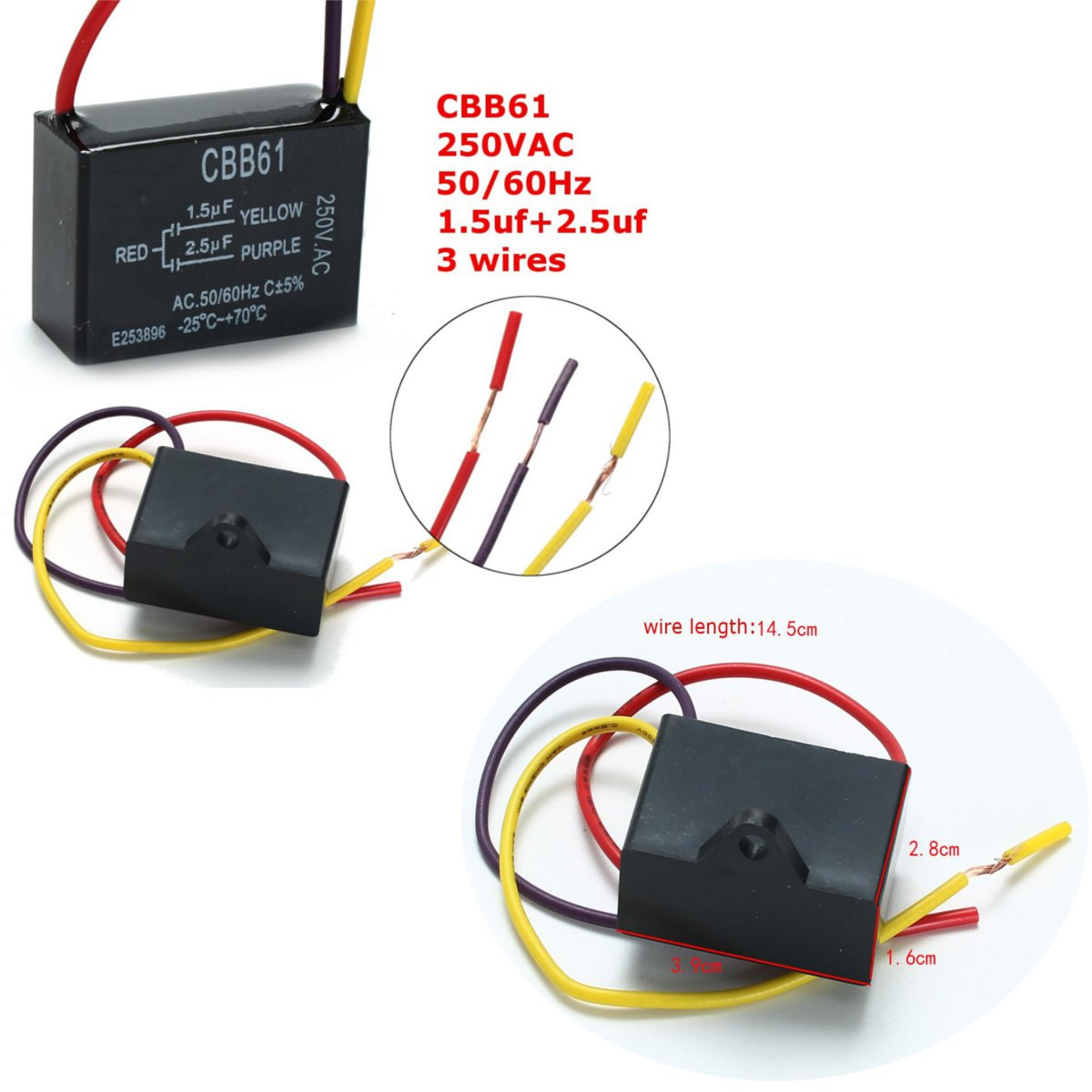 hight resolution of cbb61 1 5uf 2 5uf 3 wire 250vac ceiling fan capacitor 3 wires