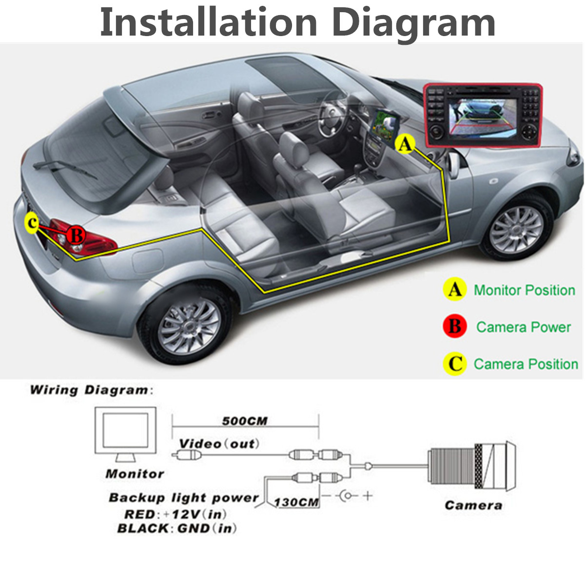 hight resolution of 170 waterproof 4 led hd ccd car backup rear view reverse camera night vision