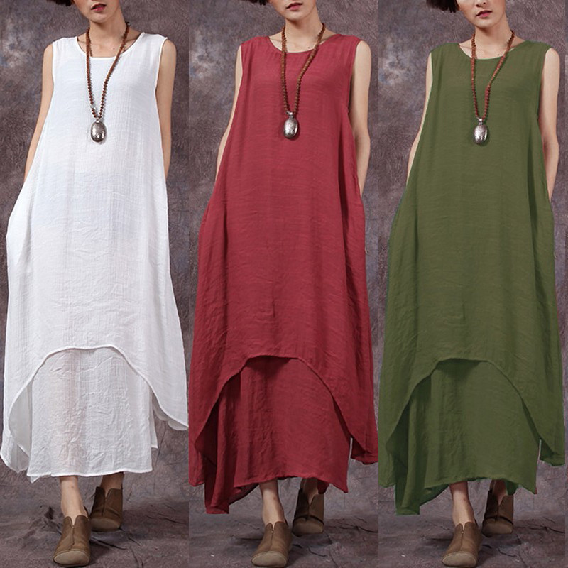 S-5XL Vintage Women Sleeveless Irregular Hem Loose Solid Color Maxi Dresses