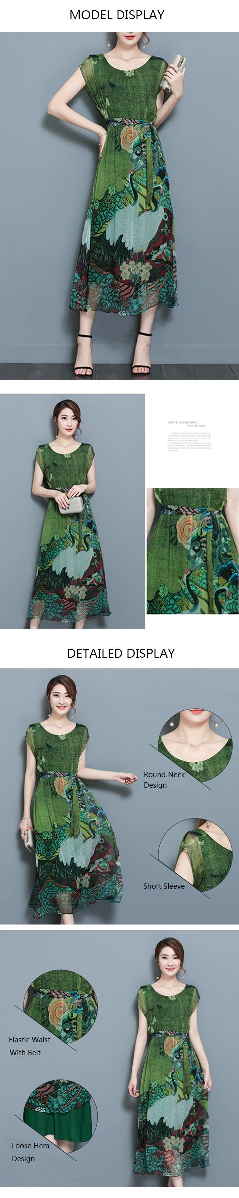 Elegant Women Floral Printed Short Sleeve Mid-long Dress with Belt