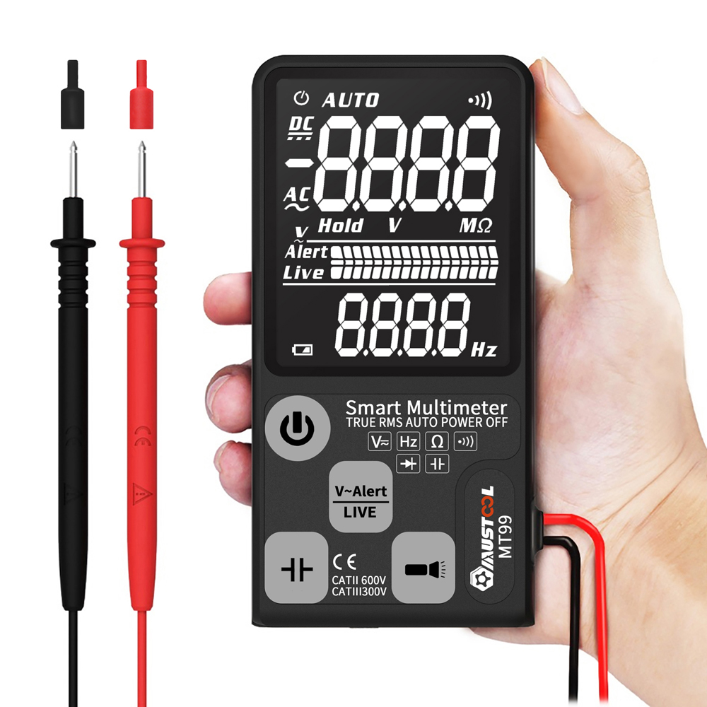 Upgraded MUSTOOL MT99 True RMS 9999 Counts Digital Multimeter  Ultra-large EBTN LCD Screen 3-Line Display Fully Auto-Range Smart DMM 10