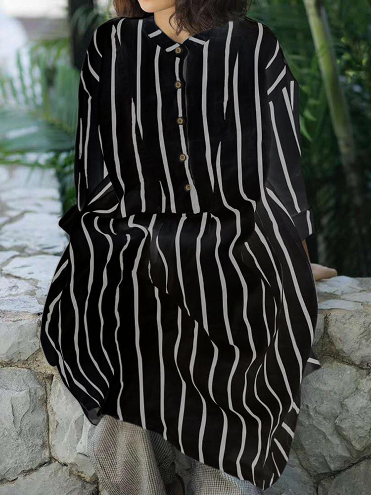 Women Long Sleeve Stripe Buttons Stand Collar Casual Shirt Dress