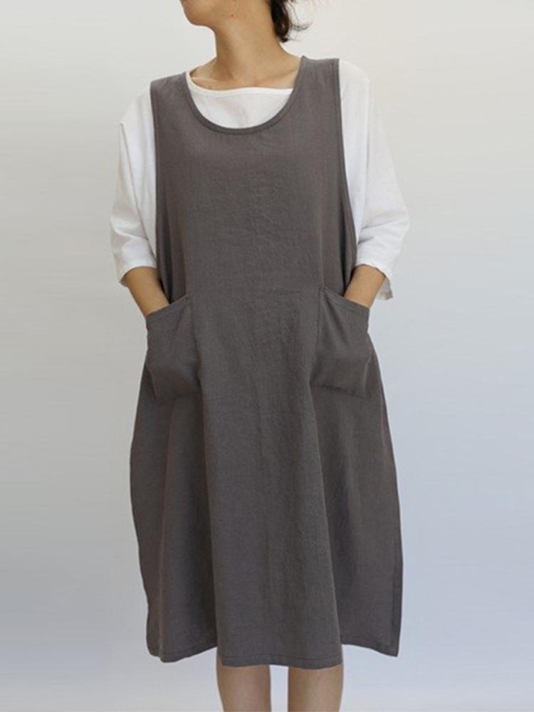 Vintage Sleeveless O-neck Solid Color Split Dress