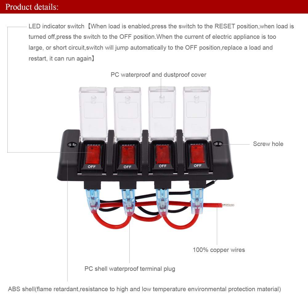 medium resolution of dc 12v waterproof rocker circuit breakers button toggle switch panel for car rv marine boat
