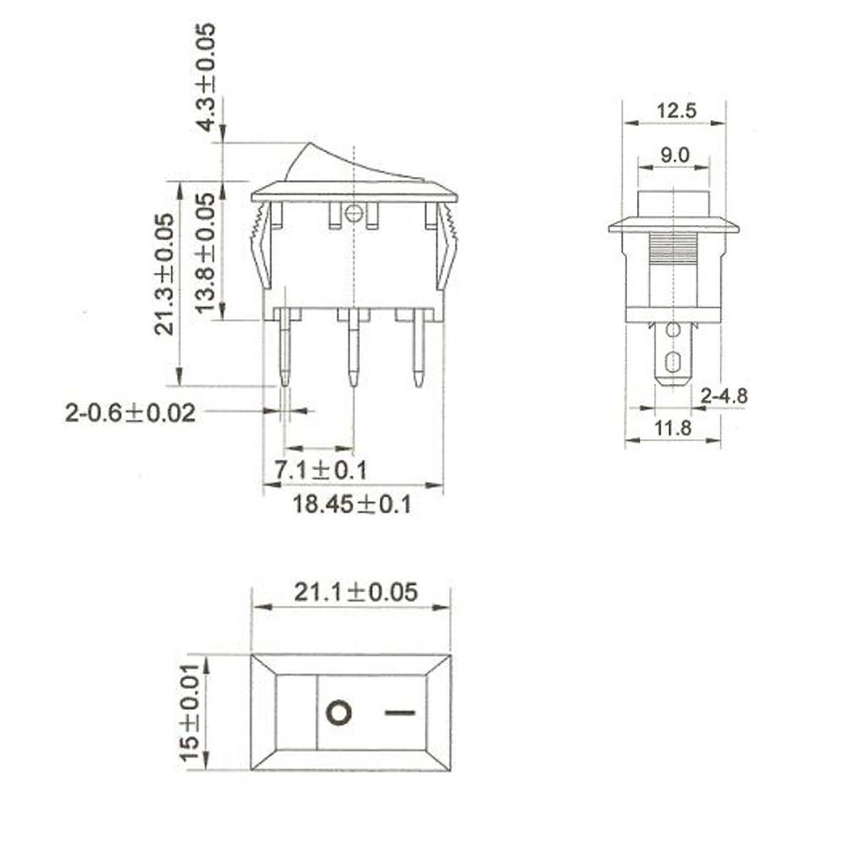 12v spst 3 pin large rectangle rocker switch led lighted
